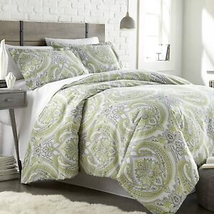 Green Gray White Floral Medallion 3 pc Comforter Set Twin XL Full Queen King Bed