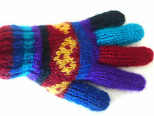 Unused Hand-Knitted Multicolor Wool Andean Peruvian Gloves Ladies L/Mens M