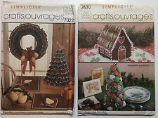 Vtg 80s Simplicity Christmas Crafts Patterns x2 Wreath Cottage Tree Stockings UC