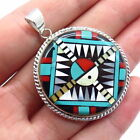 Old Pawn Zuni 925 Sterling Silver Multi Color Gem Handcrafted Tribal Pendant