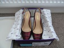 "Lotus Jaenella Dark Red Print Sling Back Court Shoes Size 4 Stiletto Heel 3"""