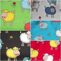 Baumwollstoff Schafe Schäfchen Wolken Kinderdruck / Meterware Patchwork Quilten