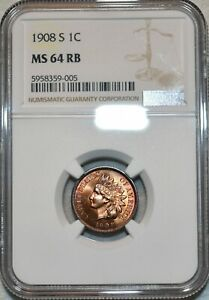 NGC MS-64 RB 1908-S Indian Head Cent, Radiant, Red-Brown specimen, Nearly Gem!