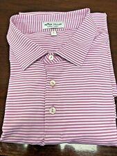 Peter Millar Summer Comfort Men's Red Striped Polo Golf Shirt - Size Large