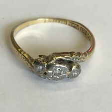 Vintage Solid 18ct Yellow Gold Diamond Trilogy Twist Ring Size M1/2