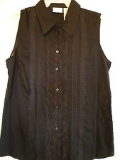 New White Stag small 4 6 black lace button down collar sleevless tank top blouse