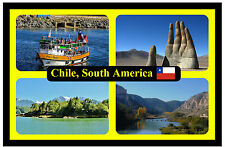 CHILE, SOUTH AMERICA - SOUVENIR NOVELTY FRIDGE MAGNET - FLAGS / SIGHTS - NEW