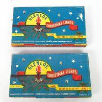 2 Sets Vintage Glencoe Electric Christmas Lights USA w/Boxes 7 Light Strands