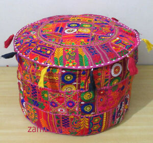 """New Lots of 22"""" Indian Handmade Gujarati Patchwork Ottoman Pouf Cover Footstool"""