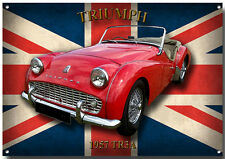 LGE A3 SIZE TRIUMPH TR3A ENAMELLED METAL SIGN.BRITISH SOFT TOP SPORTS CARS