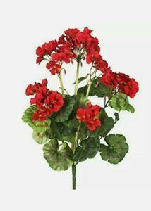 "14"" Red Geranium Bush Artificial Plant flowers"