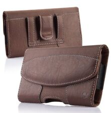 Samsung Galaxy S7 Edge - BROWN Suede Leather Pouch Holder Belt Clip Holster Case
