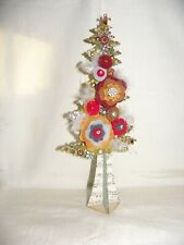 VINTAGE COSTUME JEWELRY CHRISTMAS TREE FELT FLOWERS~Christmas Decoration & GIFT