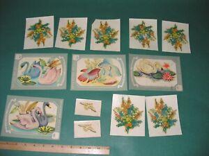 Lot Vintage Meyercord Decals Decoupage Midcentury Swans Birds Flowers 40s 50s