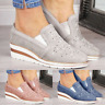 Autumn Women's Wedge Rhinestone Shoes Mid-heel Loafers Leather Stitching Shoes