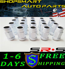 SRS 12X1.25 WHITE STEEL TUNER LUG NUT SET 20 FOR SUBARU INFINITI G35 350Z S13