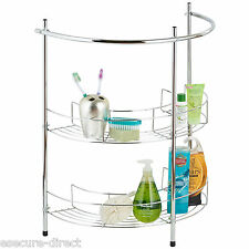 VonHaus 2 Tier Chrome Bathroom Under Basin Sink Storage Shelf Rack Organiser