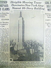 1930 newspaper Construction Completed of EMPIRE STATE BUILDING Manhattan NY CITY