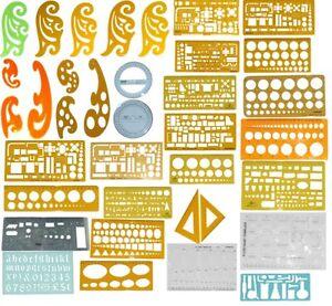 STENCILS- FRENCH CURVE, CIRCLE, ECLIPSE, ARCHIETECT TEMPLATES, SET SQUARES