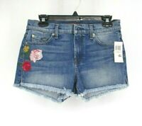 7 For All Mankind 7FAMK Floral Embroidered Cut Off Shorts Size 28 Jean Blue QQ18