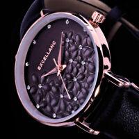 Excellanc Damen Armband Uhr Blumen Schwarz Braun Rose Gold Farben Strass L61