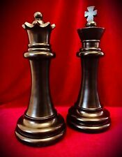 "Chess Piece Statues-Black-King & Queen-Over 11"" Tall-Home Decor Art Contemporary"
