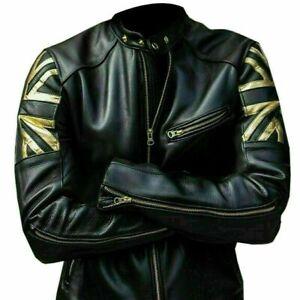 UK Flag Union Jack Vaintage Cafe Racer Genuine Leather Jacket Black New