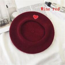 Women Black Cute Heart Embroidery Beret Artist Cap Wool Hat Headwear Berets