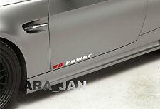 2 -  V8 Power Vinyl skirt  Decal sport racing sticker WHITE/RED