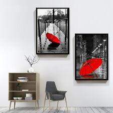 2 Piece Canvas Prints Set - Red Umbrella in City Digital Art Decor - Unframed