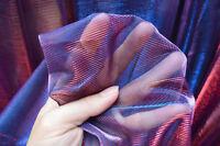 M26 Royal Blue Red Metallic Iridescent 2 Tones Stretch Mesh Fabric Material