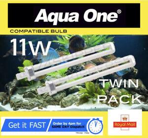 Aqua One 11w Light Bulb PL 11 watt 2 pin, white, compatible bulb Twin Pack