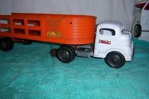 """Structo Overland Freight Lines Semi-Truck 1950's Pressed Steel; 21 1/2 """" Long"""