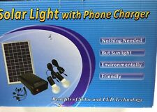 5w Solar Panel Lighting Kit Solar Home System USB Charger with 2 Light New US