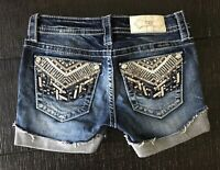 Miss Me Cut Off Cuffed Mid Rise Embellished Denim blue Jean shorts size 0 25