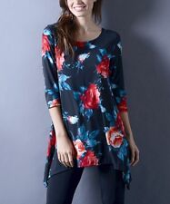 Ladies Long Blouse Size 12 Navy Blue & Red Floral Sidetail Top