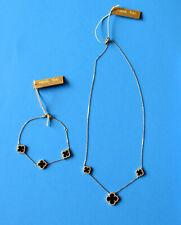 Alexa & Tori Black Onyx Clover Sterling Silver Gold Tone Bracelet & Necklace NEW