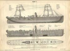 Stampa antica NAVE A VELA E VAPORE lato spaccato pianta 1890 Old antique print