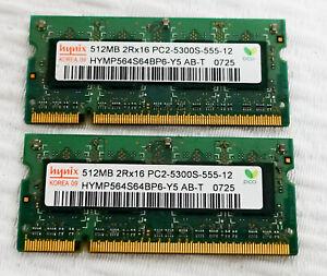 Hynix  1GB (2x512MB) DDR2 667 CL5 SODIMM Laptop RAM PC2-5300S-555-12