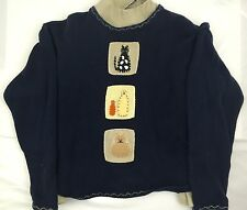Christopher & Banks Blue Felt Cat Accent Crew Neck Pullover Sweater Beige Mock