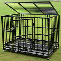 """3XL Large 48"""" Dog Crate Kennel Metal Pet Cage Playpen House Portable w/Tray NEW"""
