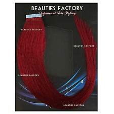 Super Adhesive Tape in Weft 20 Inch 100 Remy Human Hair Extensions Salon Grade #bug Pure Burgundy (hair513) 50 Gram (20 Pieces)