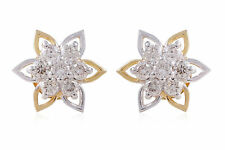 Pave 0.65 Cts Round Brilliant Cut Natural Diamonds Stud Earrings In 14Karat Gold