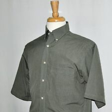 Men Roundtree & York GOLD LABEL Check Green Short-sleeve Dress Shirt Small