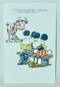 Mickey Mouse Postcard Inter Art Early 1930s Minnie & Mickey On Bench Cow Looking