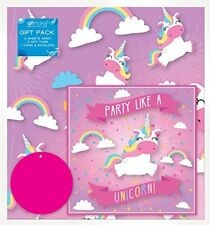 2 Sheets of Pink Unicorn Birthday Gift Set Wrap Wrapping Paper Card Tags Party