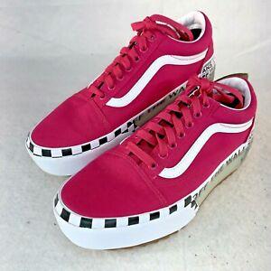 Vans Old Skool Stacked Logo Platform Sneaker Pink Women's 9.5 Men's 8