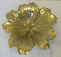 """Gold Tone Brass May Apple Leaf Tray Trinket Dish 40s Virginia Metalcrafters 7"""""""