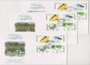 """HONG KONG, 1997, """"MIGRATORY BIRDS"""" 3 STAMP SET ON 3 GPO FDCS WITH 3 DIFFER CHOP"""