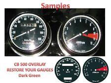 Honda CB500 Overlay Cafe Racer Gauge Face Decal Applique KMH Green Dial Clock 71